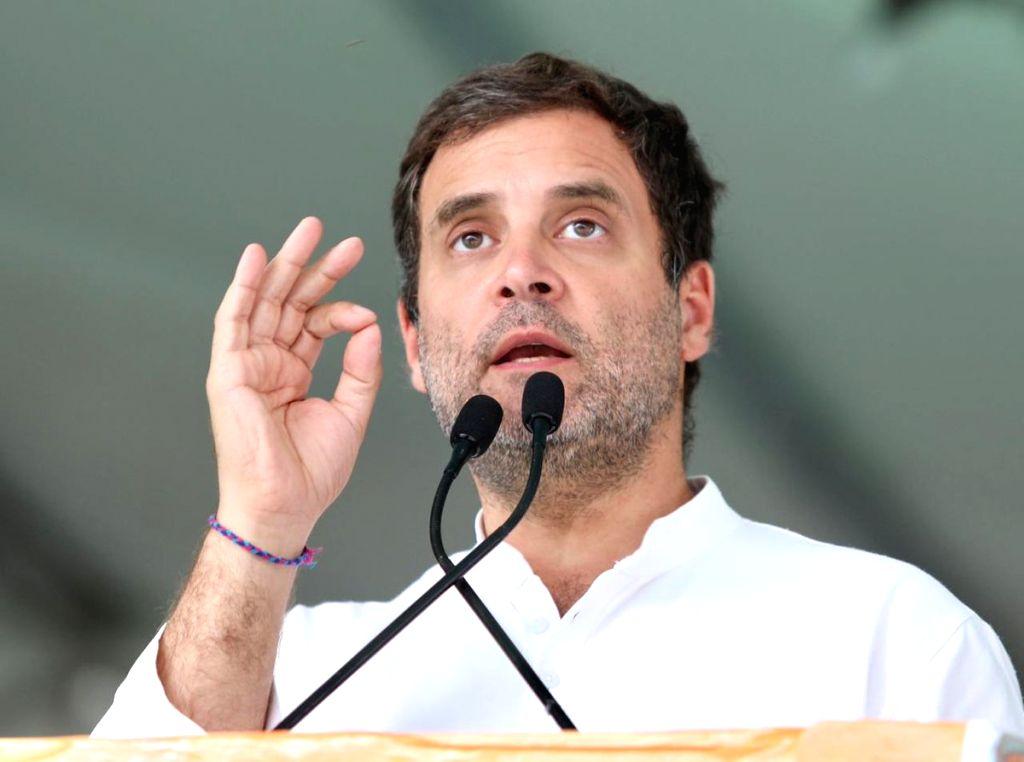 Ludhiana: Congress President Rahul Gandhi addresses a public rally in Ludhiana, Punjab, on May 15, 2019. (Photo: IANS) - Rahul Gandhi