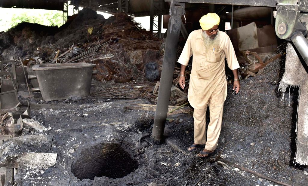 Ludhiana: The iron furnace unit where two labourers were killed and 12 others injured in a blast, in Punjab's Ludhiana on July 26, 2019. (Photo: IANS)