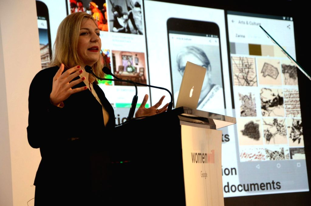 Luisella Mazza, Head of Operations, Google Arts & Culture on addressing during the launch of Google Arts & Culture platform in Mumbai on Nov. 19, 2016.