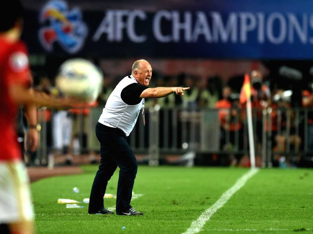 Luiz Felipe Scolari, head coach of Guangzhou Evergrande, reacts during the 2nd round of the AFC Champions League final match between Guangzhou Evergrande and Al ...