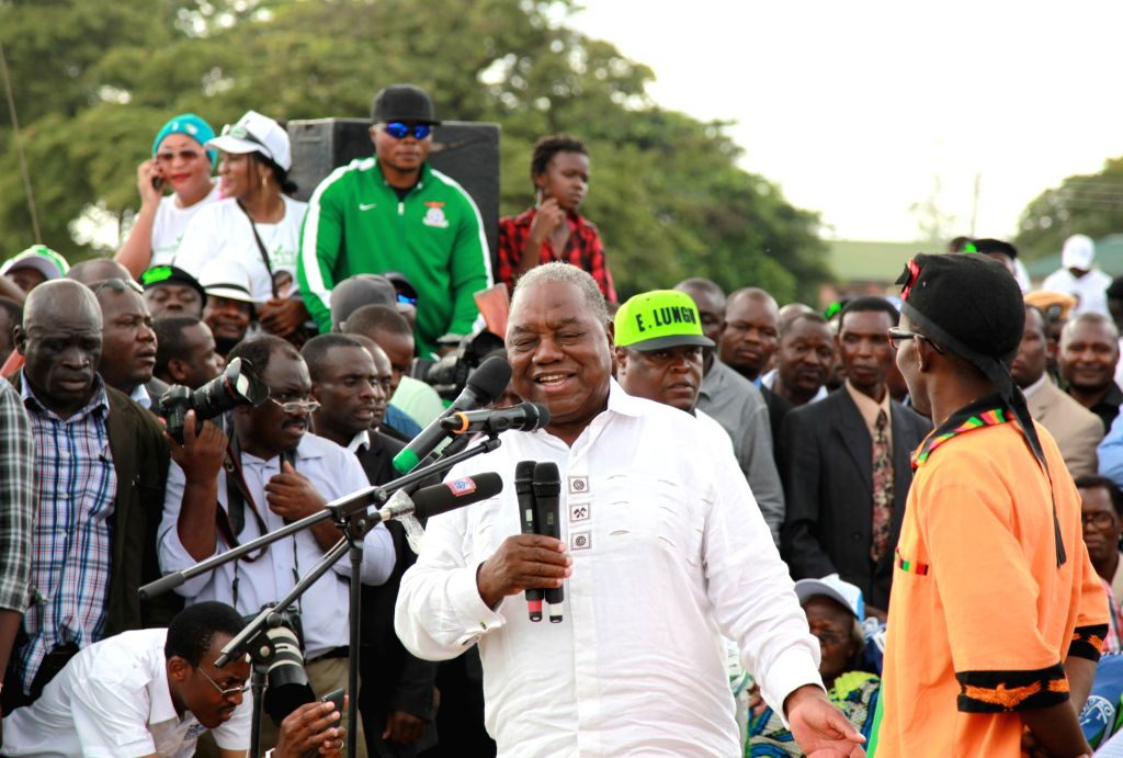 Zambia's Former President Rupiah Bwezani Banda attends a rally of ruling Patriotic Front presidential candidate, Defense and Justice Minister Edgar Lungu at the ... - Edgar Lungu