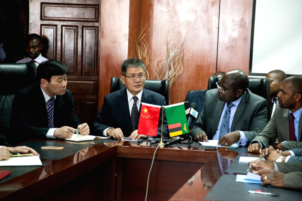 LUSAKA, Jan. 24, 2018 - Chinese Ambassador to Zambia Yang Youming (2nd L, Front) speaks during a donation ceremony at the Ministry of Health in Lusaka, capital of Zambia, on Jan. 24, 2018. The ...