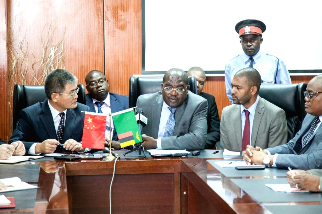 LUSAKA, Jan. 24, 2018 - Zambian Minister of Health Chitalu Chilufya (C) speaks during a donation ceremony at the Ministry of Health in Lusaka, capital of Zambia, on Jan. 24, 2018. The Chinese ...