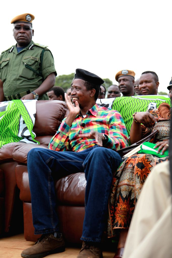 File photo taken on Jan. 19, 2015 shows Zambian ruling Patriotic Front (PF) presidential candidate Edgar Lungu attending an election campaign in Lusaka, capital of ..