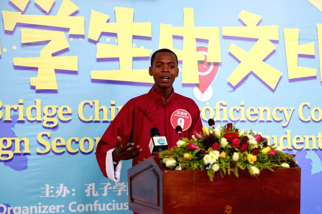 LUSAKA, July 20, 2019 - A Zambian student gives a speech during a Chinese proficiency contest in Lusaka, Zambia, July 19, 2019. Zambia's secondary school students from different parts of the country ...