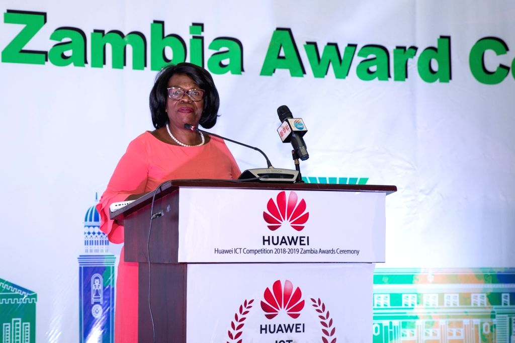 LUSAKA, March 6, 2019 - Nkandu Luo, Zambia's Minister of Higher Education, delivers a speech during the Huawei ICT competition awarding ceremony in Lusaka, capital of Zambia, March 5, 2019. A senior ...