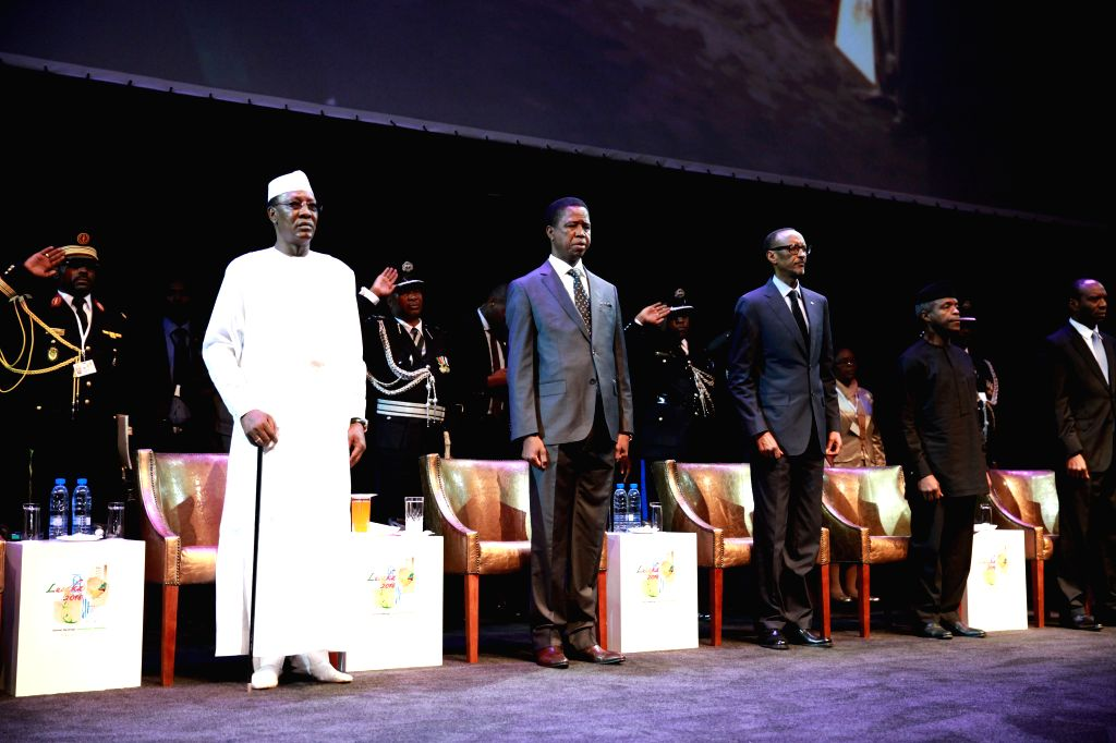 LUSAKA, May 24, 2016 - Chadian President Idriss Deby (1st L), Zambian President Edgar Lungu (2nd L) and Rwandan President Paul Kagame (3rd L) attend the opening ceremony of the 51st Annual Meetings ...