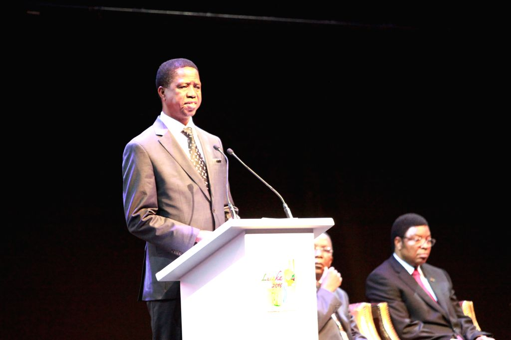 LUSAKA, May 24, 2016 - Zambian President Edgar Lungu speaks during the opening ceremony of the 51st Annual Meetings of the African Development Bank in Lusaka, Zambia, May 24, 2016.