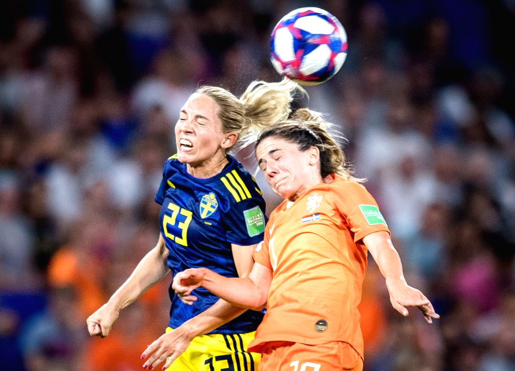 LYON, July 4, 2019 (Xinhua) -- Danielle Van De Donk (R) of the Netherlands vies with Elin Rubensson of Sweden during the semifinal match between the Netherlands and Sweden at the 2019 FIFA Women's World Cup at Stade de Lyon in Lyon, France, July 3, 2