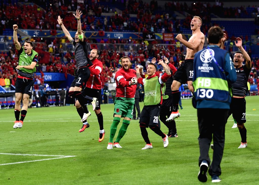 LYON, June 20, 2016 - Players of Albania celebrate victory after the Euro 2016 group A soccer match between Romania and Albania in Lyon, France, June 19, 2016. Albania won 1-0.