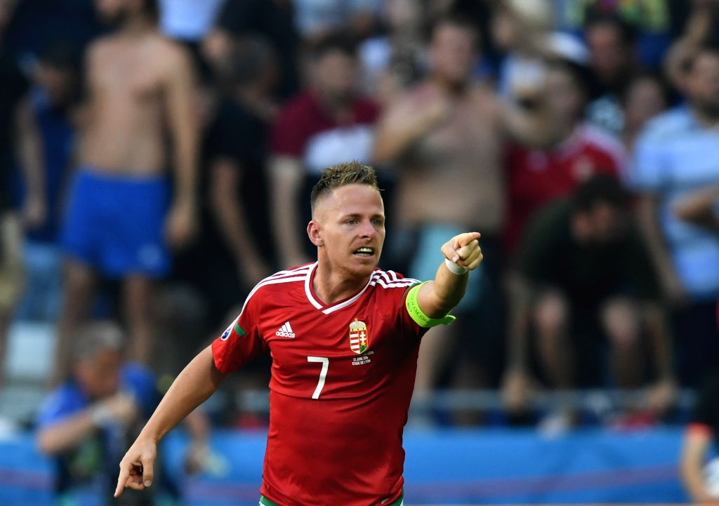 LYON, June 23, 2016 - Balazs Dzsudzsak of Hungary celebrates after scoring during the Euro 2016 Group F soccer match between Portugal and Hungary in Lyon, France, June 22, 2016.