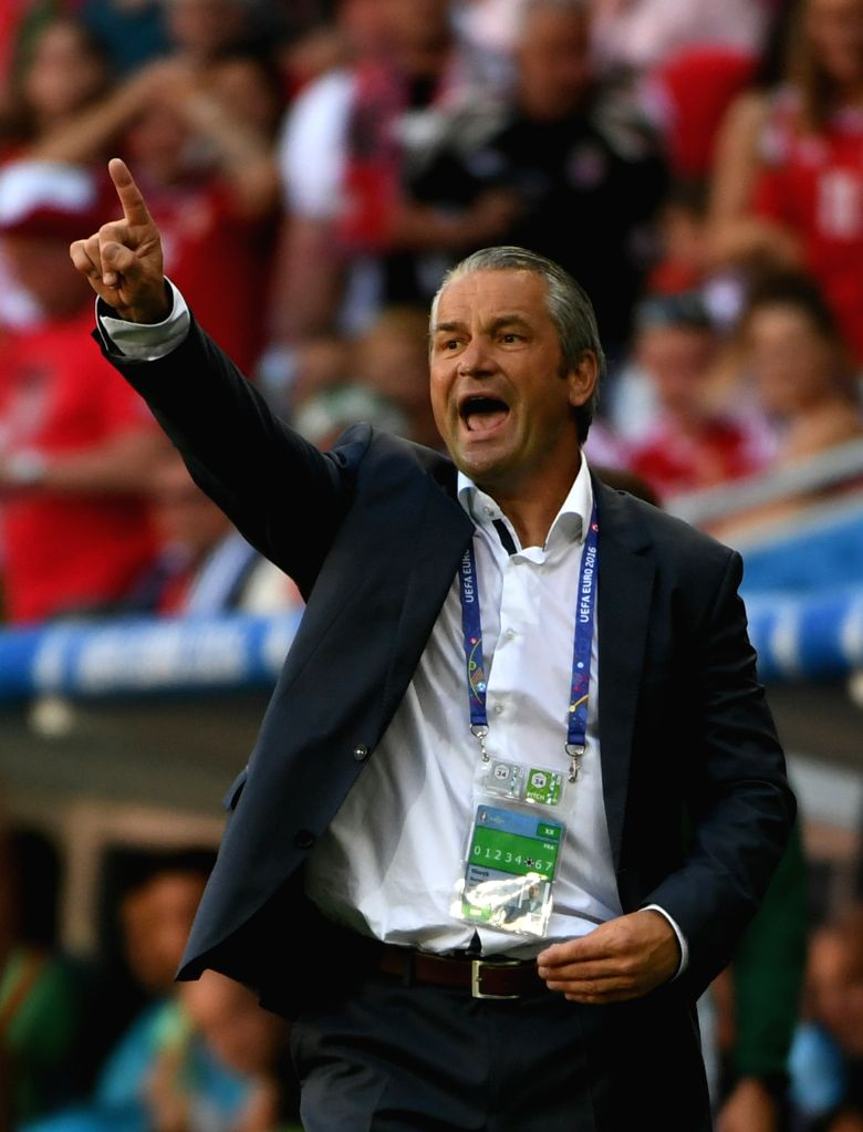 LYON, June 23, 2016 - Bernd Storck, head coach of Hungary reacts during the Euro 2016 Group F soccer match between Portugal and Hungary in Lyon, France, June 22, 2016.