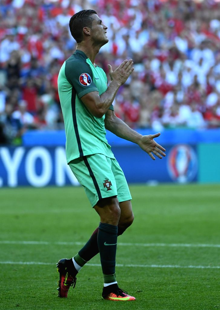 LYON, June 23, 2016 - Cristiano Ronaldo of Portugal reacts during the Euro 2016 Group F soccer match between Portugal and Hungary in Lyon, France, June 22, 2016.