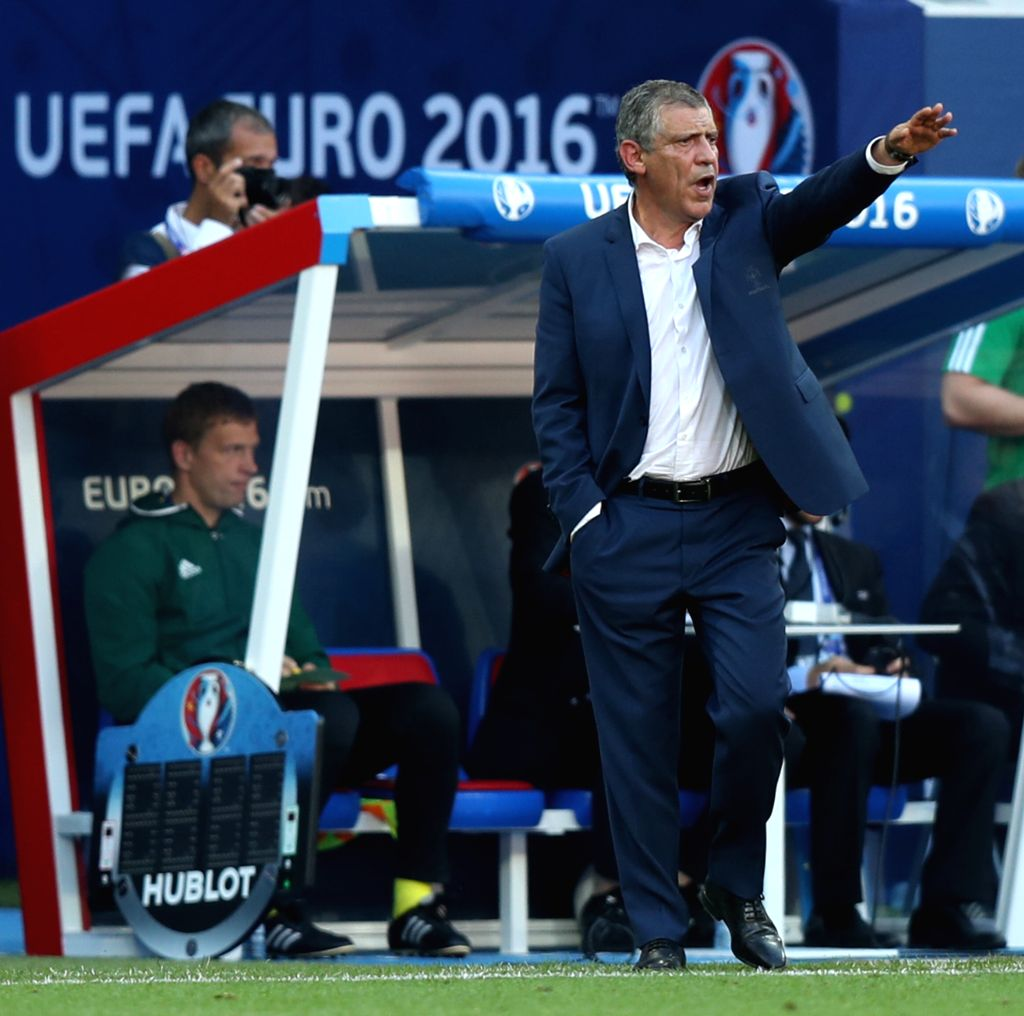 LYON, June 23, 2016 - Fernando Santos, head coach of Portugal reacts during the Euro 2016 Group F soccer match between Portugal and Hungary in Lyon, France, June 22, 2016.