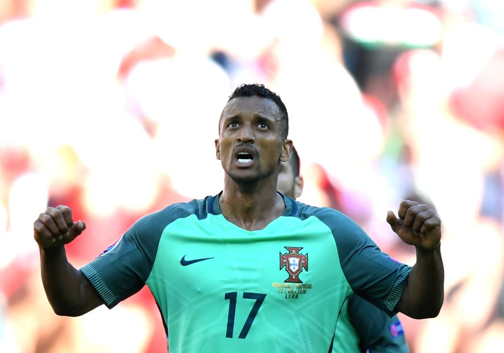 LYON, June 23, 2016 - Nani of Portugal celebrates after scoring during the Euro 2016 Group F soccer match between Portugal and Hungary in Lyon, France, June 22, 2016.