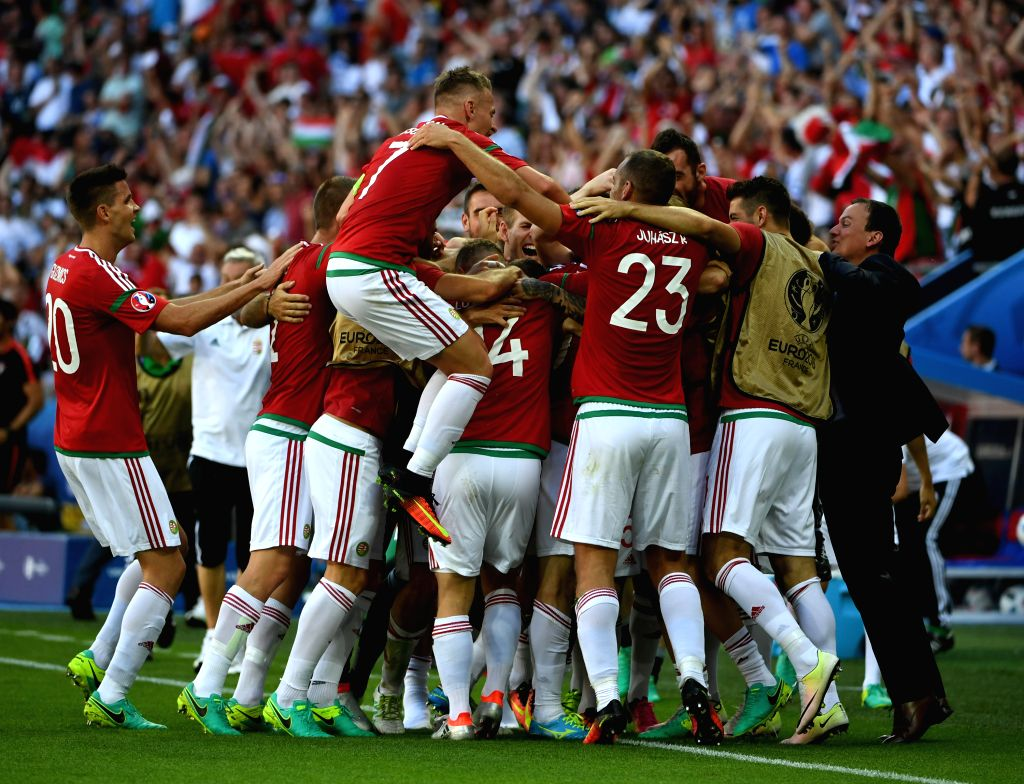 LYON, June 23, 2016 - Players of Hungary celebrate after scoring during the Euro 2016 Group F soccer match between Portugal and Hungary in Lyon, France, June 22, 2016.