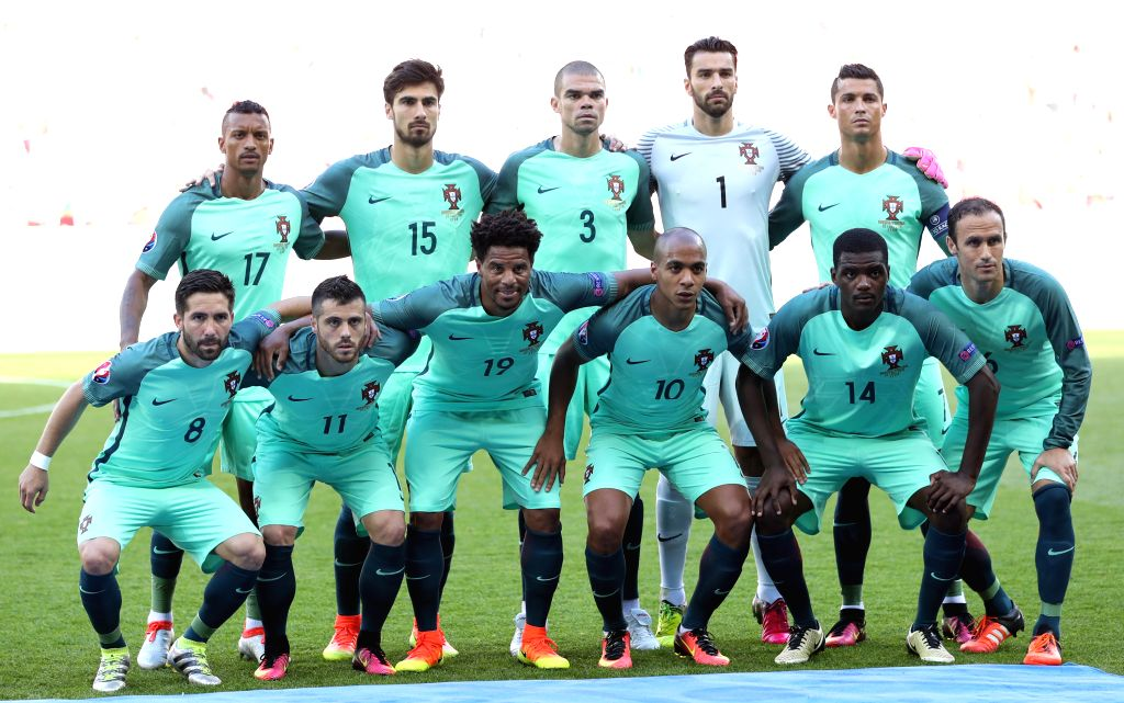 LYON, June 23, 2016 - Players of Portugal pose for a team photo before the Euro 2016 Group F soccer match between Portugal and Hungary in Lyon, France, June 22, 2016.