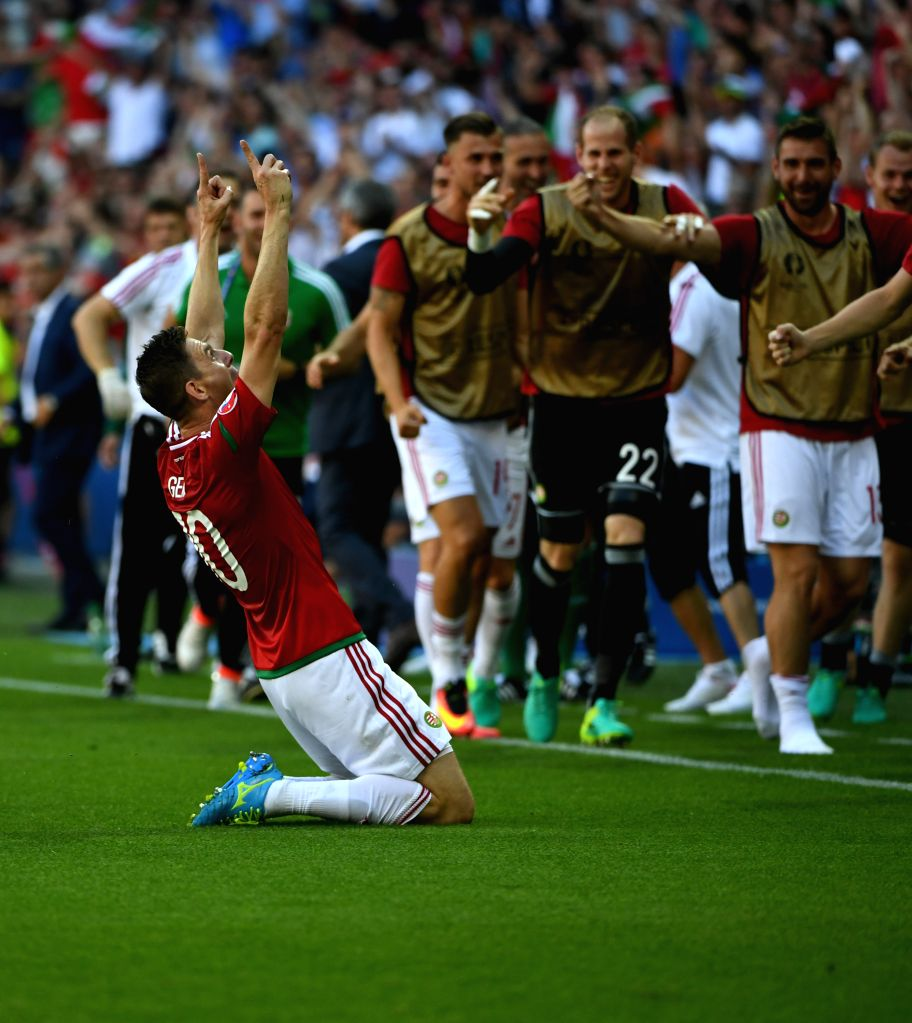 LYON, June 23, 2016 - Zoltan Gera of Hungary celebrates after scoring during the Euro 2016 Group F soccer match between Portugal and Hungary in Lyon, France, June 22, 2016.