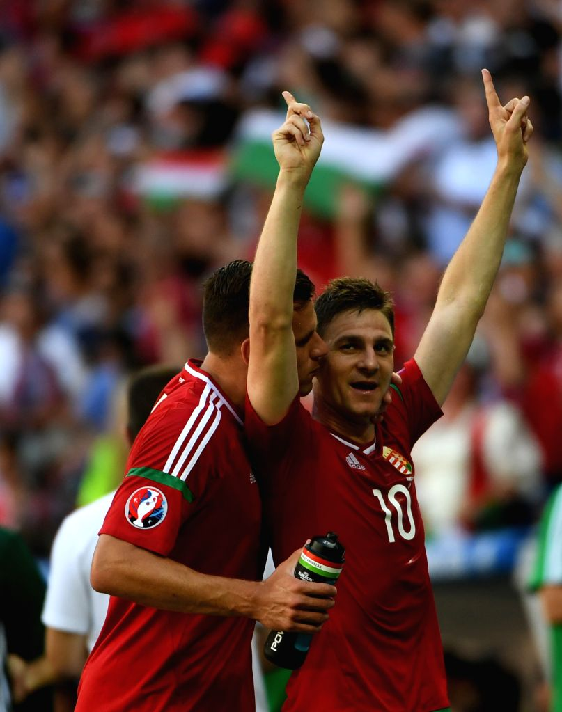 LYON, June 23, 2016 - Zoltan Gera (R) of Hungary celebrates after scoring during the Euro 2016 Group F soccer match between Portugal and Hungary in Lyon, France, June 22, 2016.