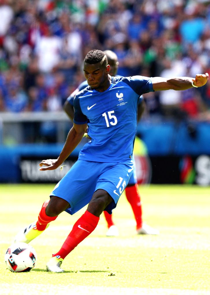 LYON, June 26, 2016 - France's Paul Pogba controls the ball during the Euro 2016 round of 16 football match between France and Republic of Ireland in Lyon, France, June 26, 2016.