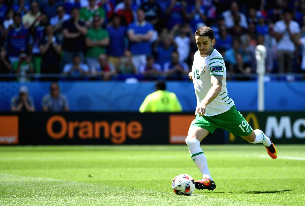 LYON, June 26, 2016 - Republic of Ireland's Robbie Brady scores their first goal from a penalty kick during the Euro 2016 round of 16 football match between France and Republic of Ireland in Lyon, ...