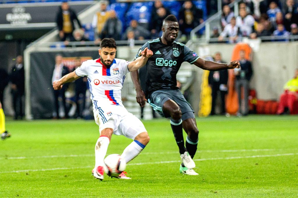 LYON, May 12, 2017 - Nabil Fekir (L) from Lyon competes with Davinson Sanchez (R) from Ajax during the second leg of the Europa League semifinal in Lyon, France on May 11, 2017. Despite the winning ...