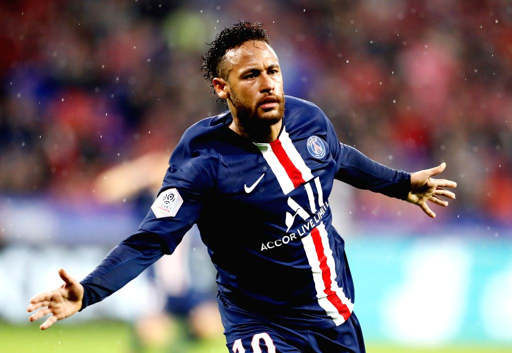 LYON, Sept. 23, 2019 - Neymar of Paris Saint-Germain celebrates a goal during the French Ligue 1 soccer match between Olympique Lyonnais and Paris Saint-Germain (PSG) in Lyon, France, Sept. 22, 2019.