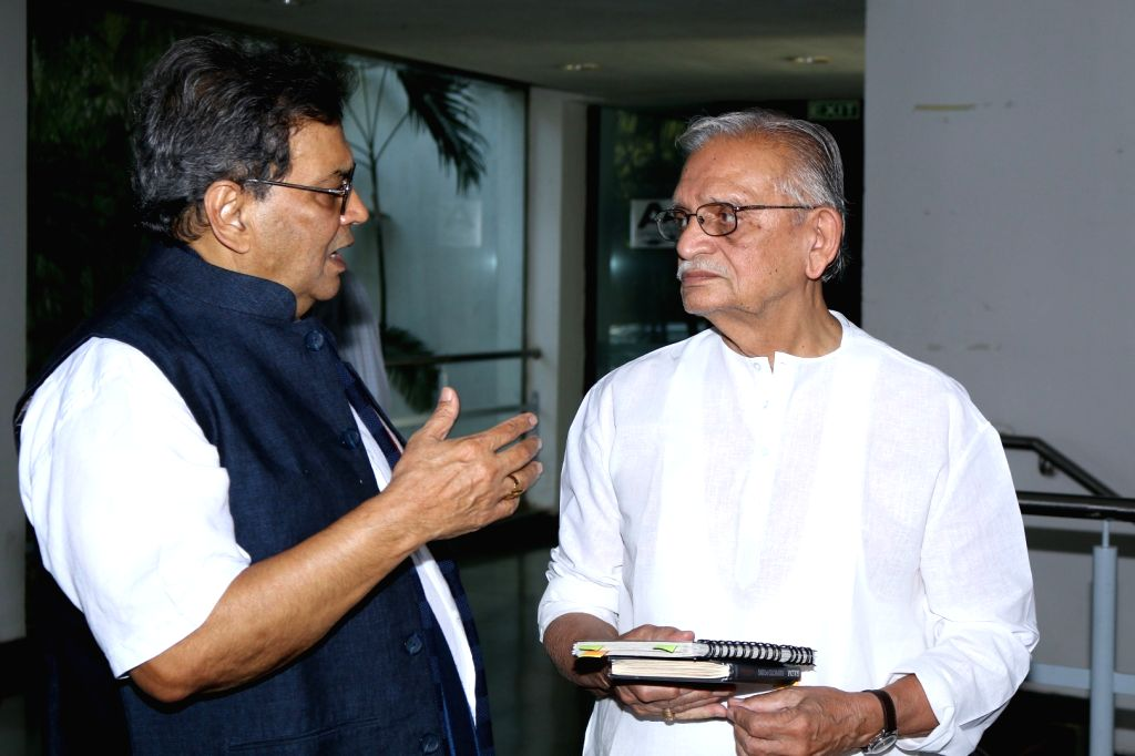 Lyricist and filmmaker  Gulzar and Subhash Ghai during the interaction session with students to share the art of song writing at Whistling Woods International in Mumbai, on March 23, 2017.