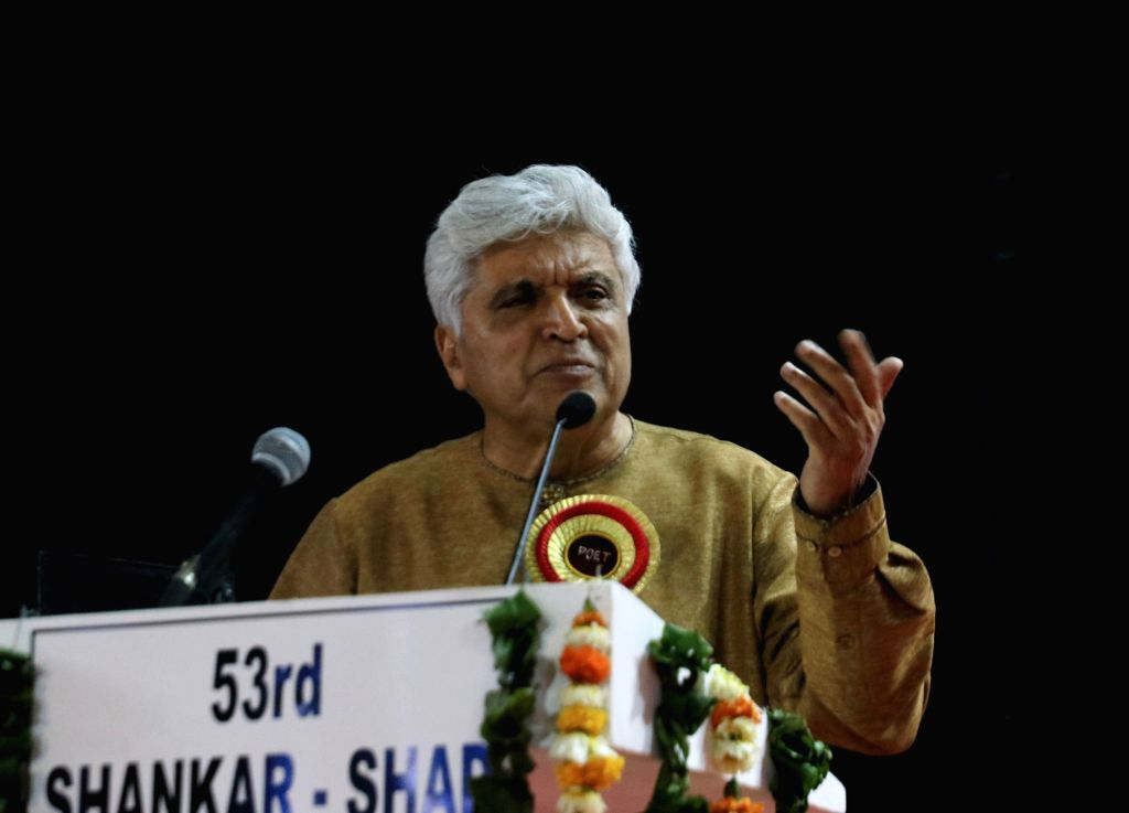 Lyricist and scriptwriter Javed Akhtar during a 'mushaira' - Urdu poetry reading session - in New Delhi, on March 16, 2019.