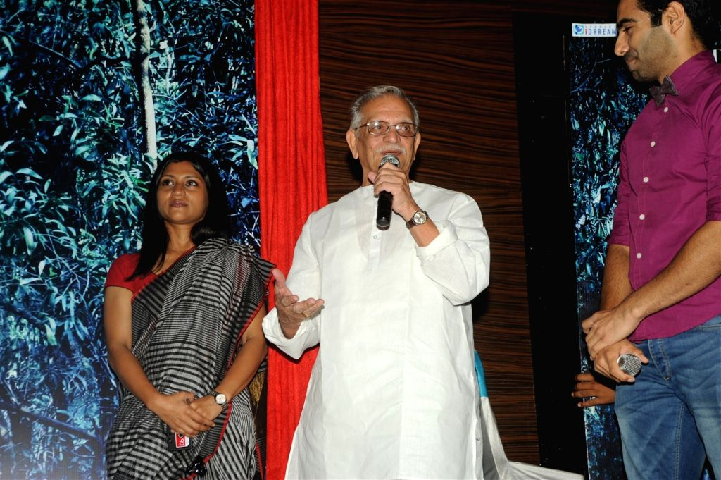 Lyricist Gulzar and  Konkona Sen  during the launch film A Death In The Gunj in Mumbai on Jan 05, 2016