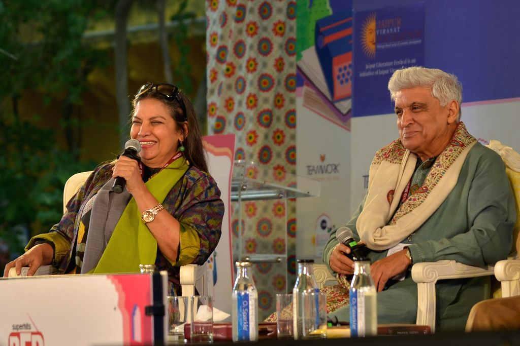 Lyricist Javed Akhtar with his wife actress Shabana Azmi during the 12th edition of Jaipur Literature Festival on Jan 25, 2019. - Shabana Azmi and Javed Akhtar