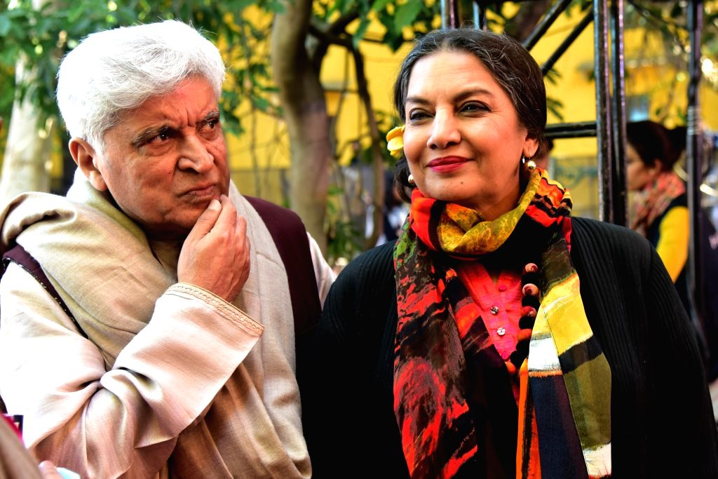 Lyricist Javed Akhtar with his wife actress Shabana Azmi during the 12th edition of Jaipur Literature Festival on Jan 26, 2019. - Shabana Azmi and Javed Akhtar