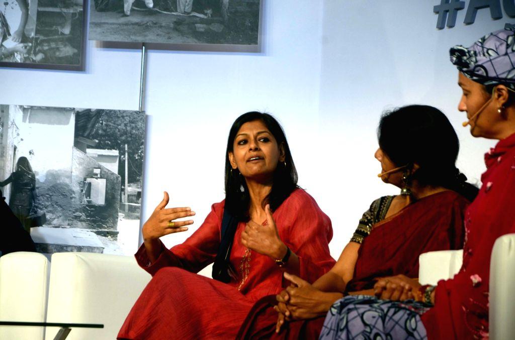 Lyricist Prasoon Joshi, Amina Mohammed, Chairperson - WSSCC and Minister of Environment, Nigeria, Chetna Sinha,Founder of the Mann Deshi Mahila Sahkari Bank and Nandita Das, Actor, Director ... - Nandita Das, Prasoon Joshi and Chetna Sinha
