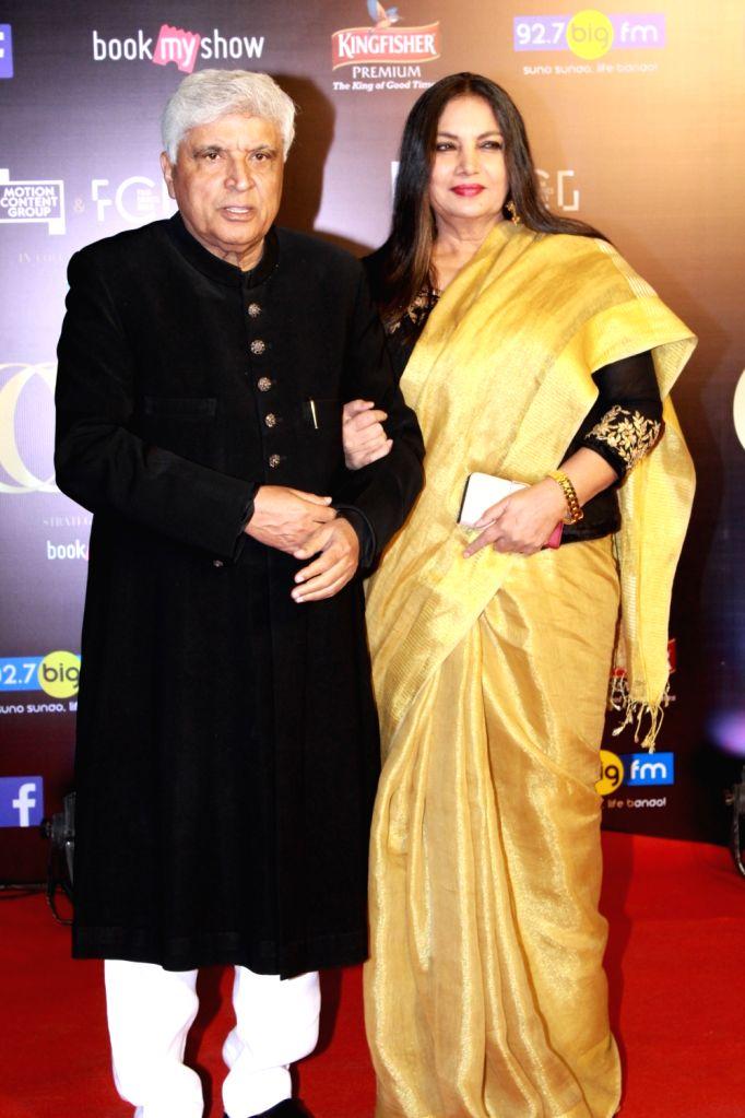 Lyricist-scriptwriter Javed Akhtar with his wife-actress Shabana Azmi on the red carpet of Critics' Choice Film Awards 2019, in Mumbai, on April 21, 2019. - Shabana Azmi