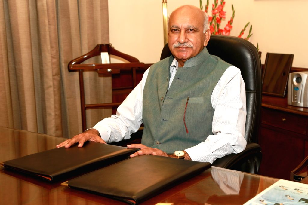 M.J. Akbar assumes charge as Minister of State for External Affairs, in New Delhi on July 6, 2016.