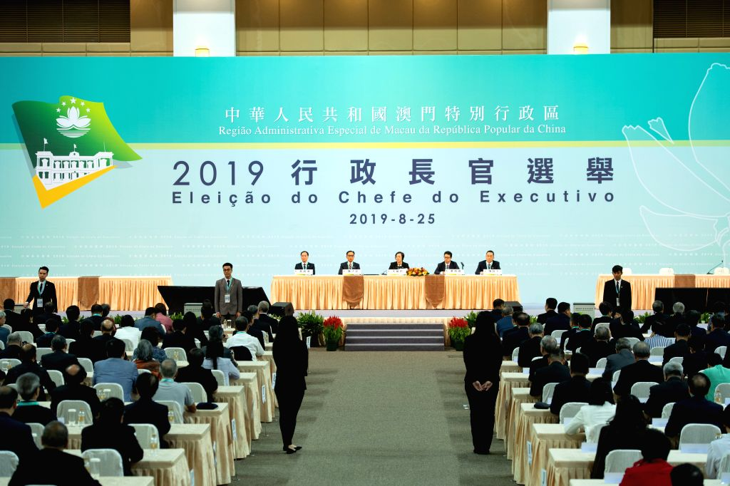 MACAO, Aug. 25, 2019 - The chief executive election of China's Macao Special Administrative Region starts at the Macao East Asian Games Dome, Macao, south China, Aug. 25, 2019. Macao's fifth-term ...