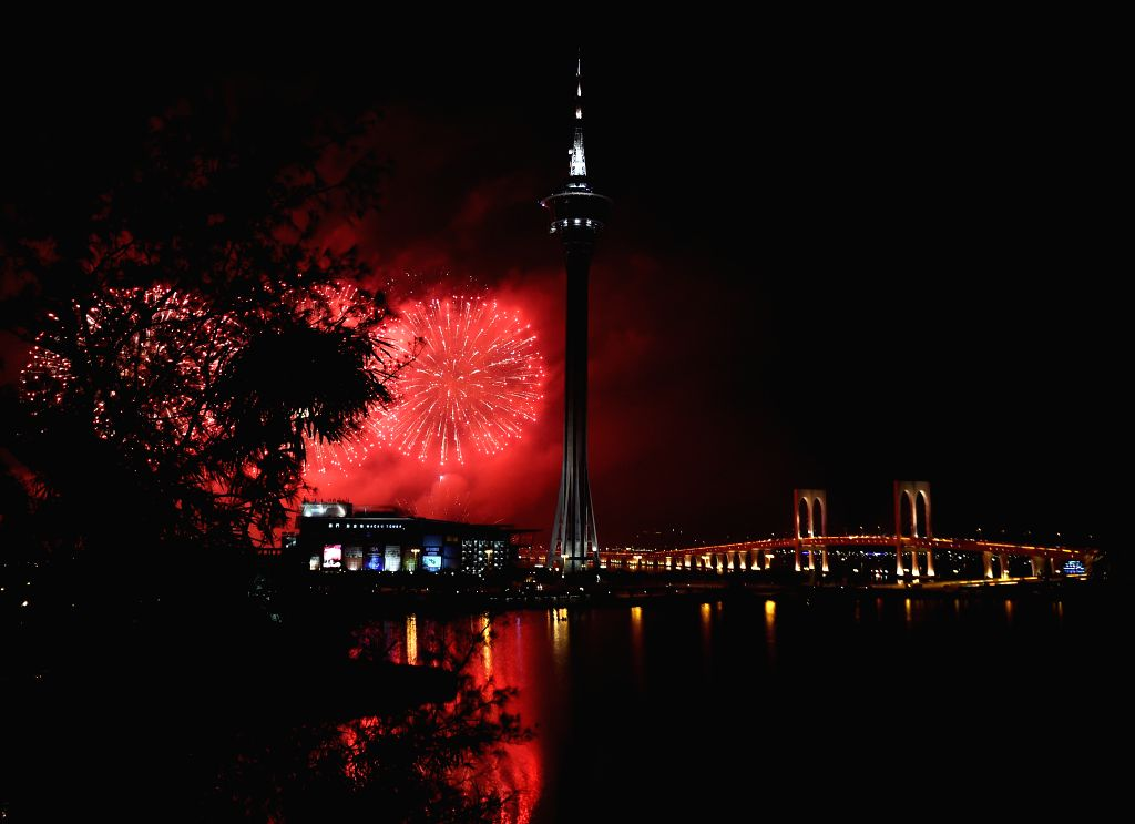 A fireworks show is held to celebrate the 15th anniversary of Macao's return to China in Macao, south China, on Dec. 20, 2014.
