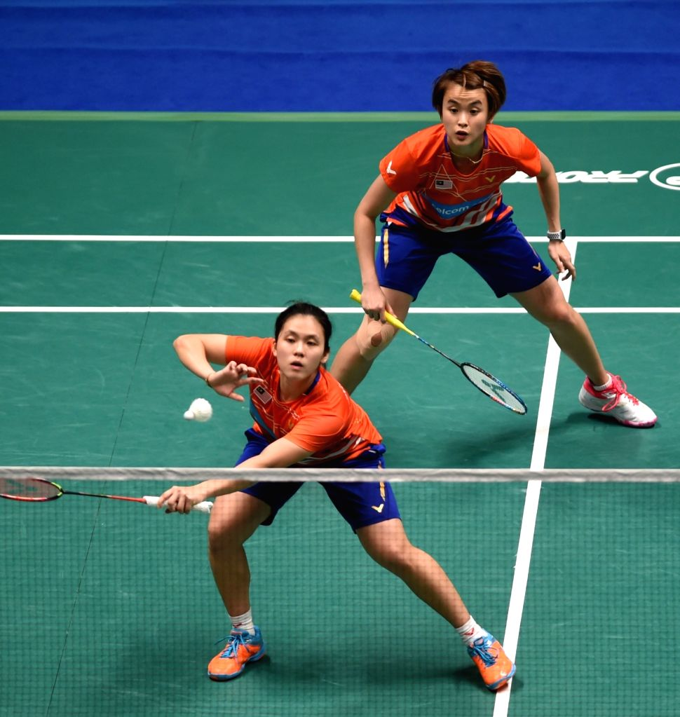MACAO, Nov. 4, 2018 - Hoo Vivian (R)/Yap Cheng Wen of Malaysia compete during the women's doubles final match against Aratama Misato/Watanabe Akane of Japan at the BWF Macao Open 2018 in Macao, south ...