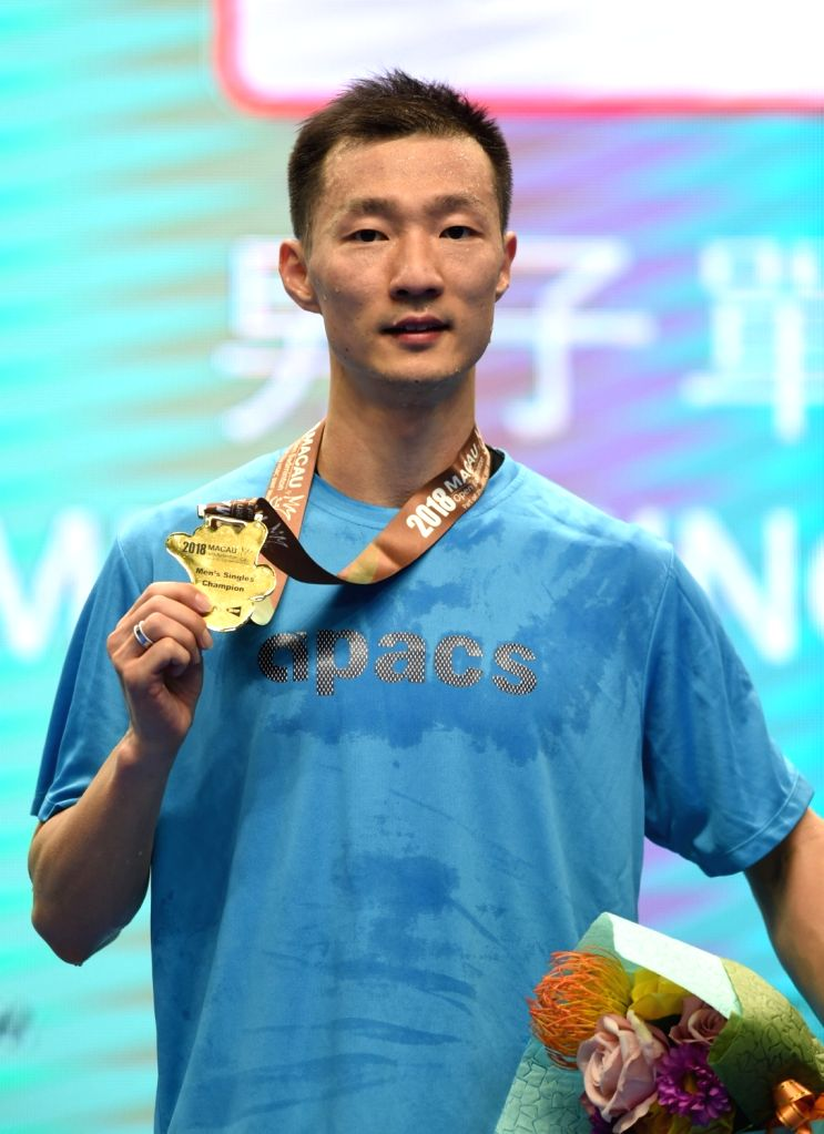 MACAO, Nov. 4, 2018 - Lee Hyun Il of South Korea poses during the awarding ceremony after the men's singles final match against Zhou Zeqi of China at the BWF Macao Open 2018 in Macao, south China, ...