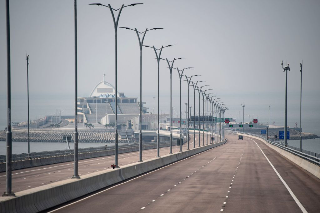 MACAO, Oct. 26, 2019 - Photo taken on Oct. 24, 2019 shows a view of the east artificial island on the Hong Kong-Zhuhai-Macao Bridge in south China. Launched on Oct. 23 last year, the 55-km bridge, ...