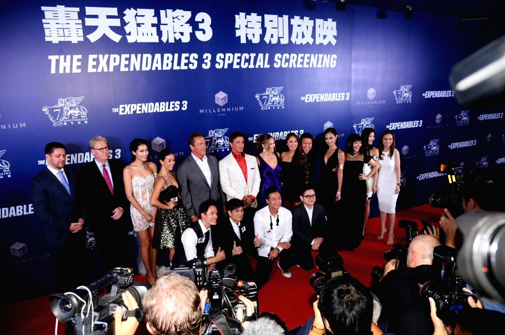 Actors Sylvester Stallone and Arnold Schwarzenegger during the movie ``The Expendables 3`` special screenings and red carpet event at the Venetian Macao in Macau ... - Sylvester Stallone and Arnold Schwarzenegge