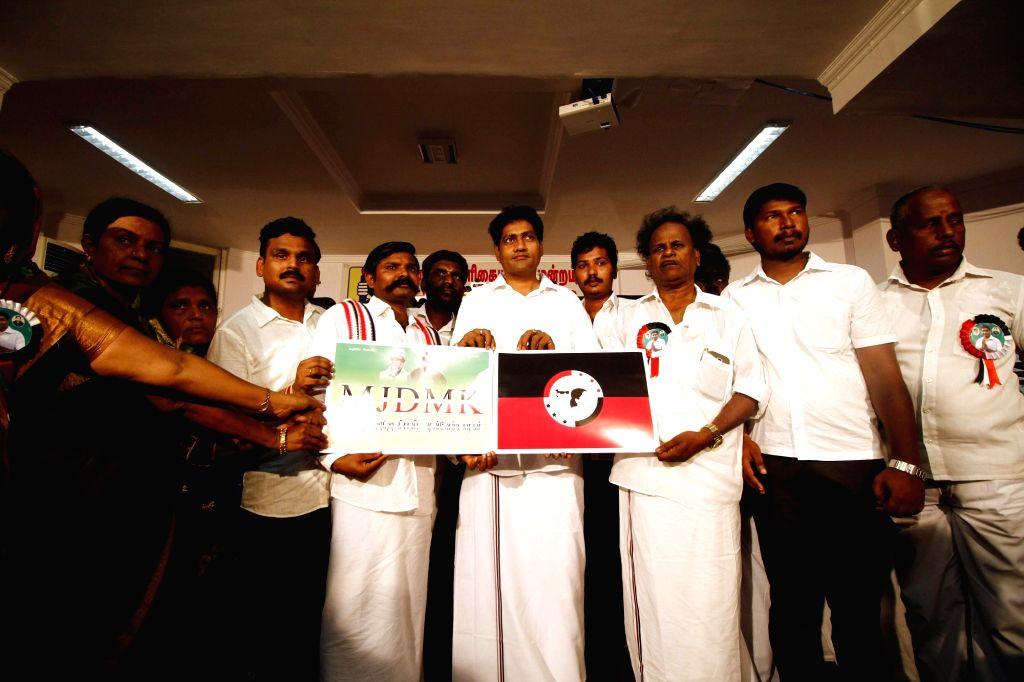 Madhavan, J Jayalalithaa's niece Deepa Jayakumar and others display MJDMK flag and symbol in Chennai, on April 21, 2017.
