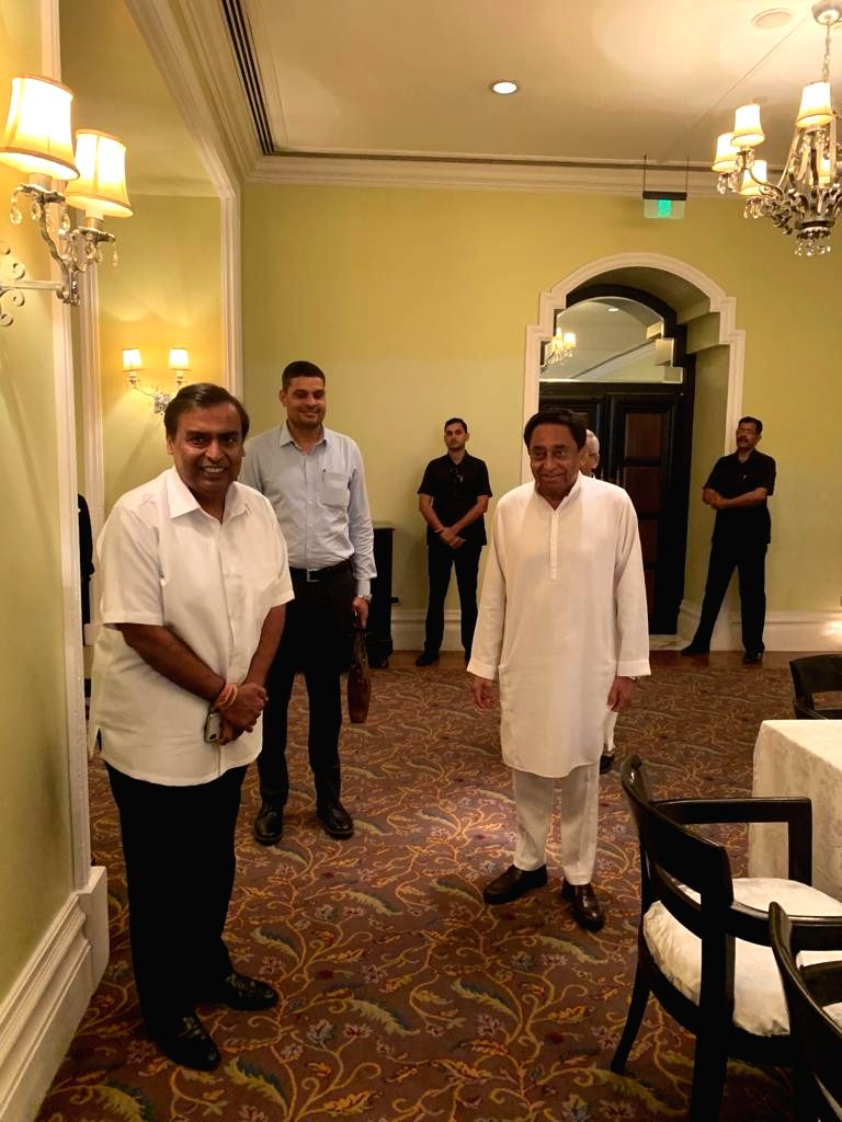 Madhya Pradesh Chief Minister Kamal Nath meets Reliance Industries Chairman Mukesh Ambani in Mumbai on Aug 7, 2019. - Kamal Nath and Mukesh Ambani