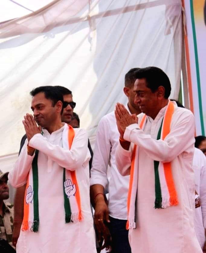 Madhya Pradesh Chief Minister Kamal Nath with his son and Congress leader Nakul Nath. - Kamal Nath and Nakul Nath