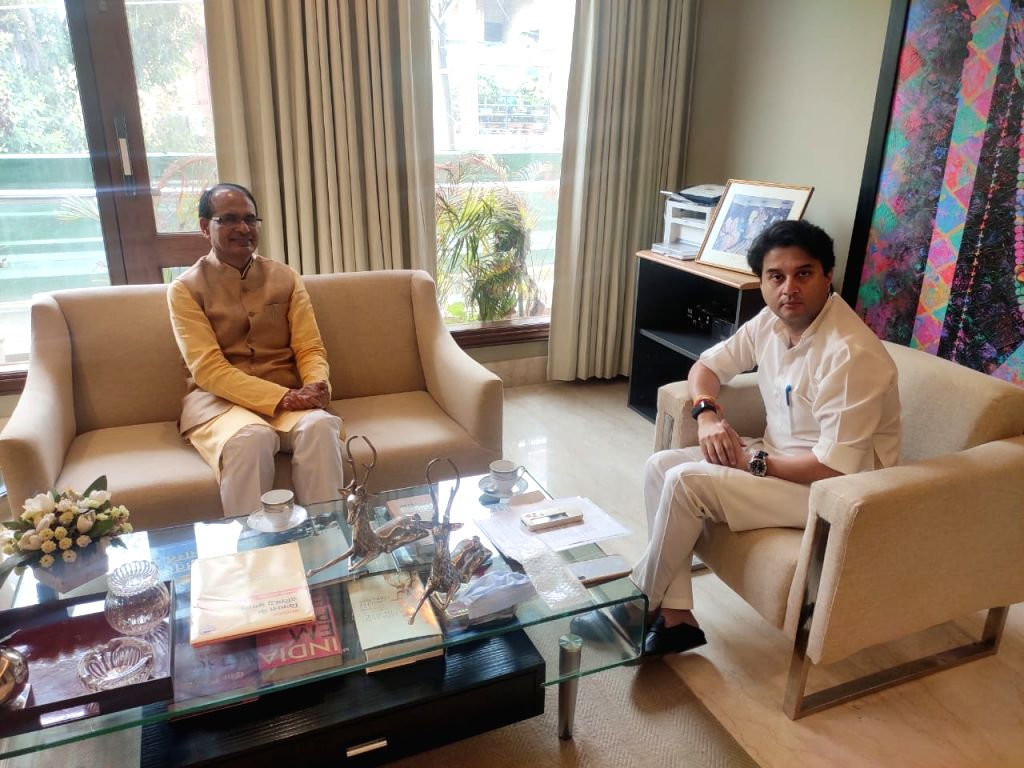Madhya Pradesh Chief Minister Shivraj Singh Chauhan meets BJP leader Jyotiraditya Scindia, in New Delhi on June 29, 2020. - Shivraj Singh Chauhan