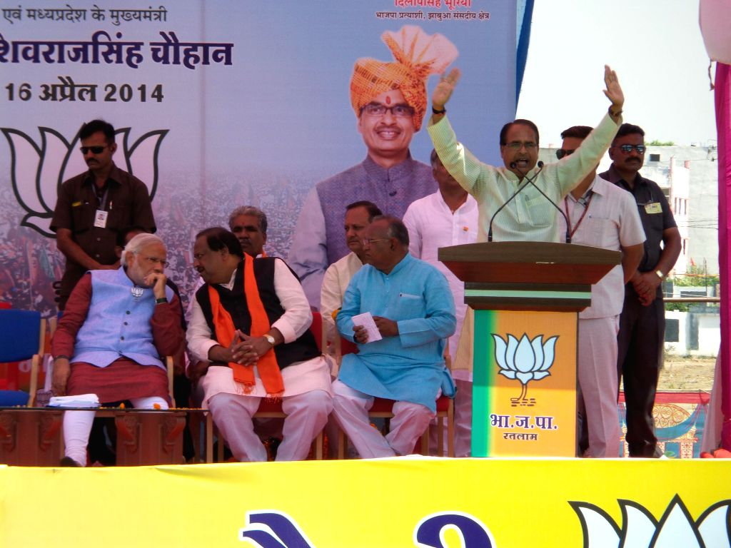 Madhya Pradesh Chief Minister Shivraj Singh Chouhan addresses a rally in Ratlam district of Madhya Pradesh on April 16, 2014. - Shivraj Singh Chouhan