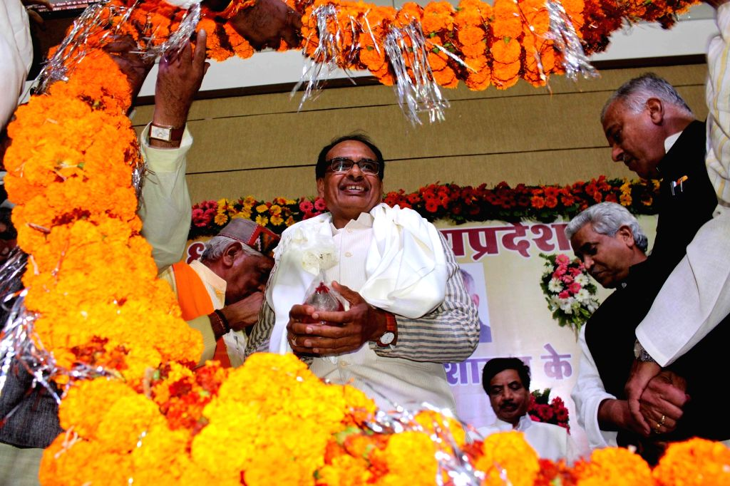 Madhya Pradesh Chief Minister Shivraj Singh Chouhan during a programme organised to celebrate his 10 years as chief minister in Bhopal, on Nov 29, 2015. - Shivraj Singh Chouhan