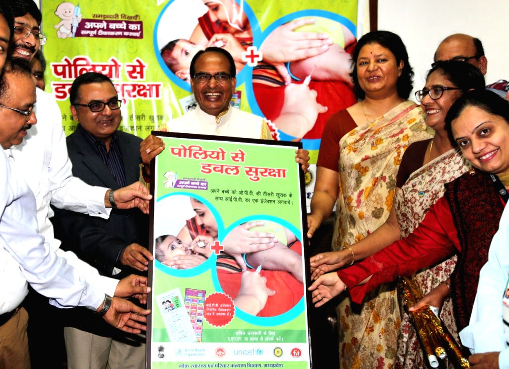 Madhya Pradesh Chief Minister Shivraj Singh Chouhan release a poster of Inactivated Polio Virus vaccine, in Bhopal on Nov 30, 2015.