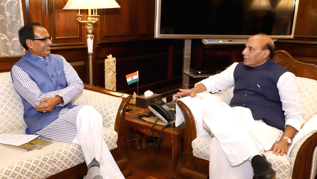 Madhya Pradesh Chief Minister Shivraj Singh Chouhan calls on the Union Home Minister Rajnath Singh in New Delhi on Feb 13, 2018. - Shivraj Singh Chouhan and Rajnath Singh