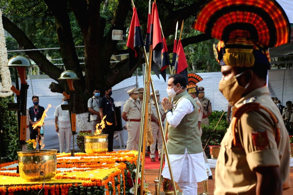 Madhya Pradesh Governer Anandiben Patel pays tribute to martyrs on the occasion of National Police Commemmoration day in Bhopal.